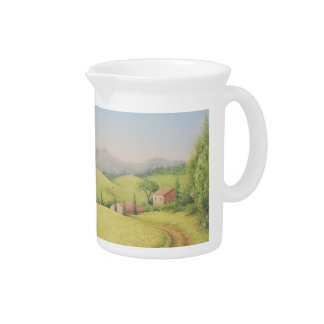 Tuscan Farmhouse, Italy in Pastel Pitcher Jug