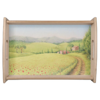 Tuscan Farmhouse, Italy in Pastel Serving Tray