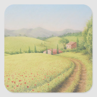 Tuscan Farmhouse, Italy in Pastel Square Stickers