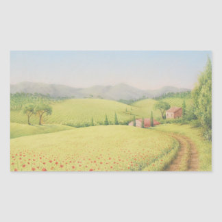 Tuscan Farmhouse, Italy Pastel Rectangle Stickers