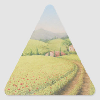 Tuscan Farmhouse, Italy Pastel Triangle Stickers