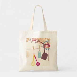 tuscan kitchen - Utensils on floral Tote Bag