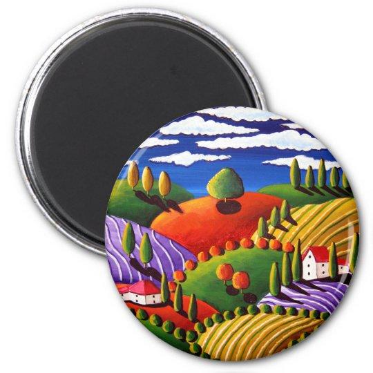 Tuscan Scene 6 Cm Round Magnet