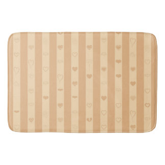 Tuscan Stripes Modern Heart Pattern Bath Mat