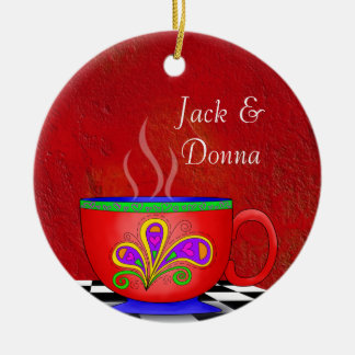 Tuscan Style Java Coffee Cup Coaster Christmas Ornament