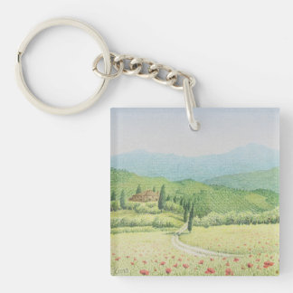 Tuscan Vineyards, Italy in Pastel Acrylic Key Ring