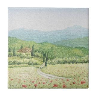 Tuscan Vineyards, Italy in Pastel Ceramic Tile