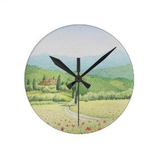 Tuscan Vineyards, Italy in Pastel Clock