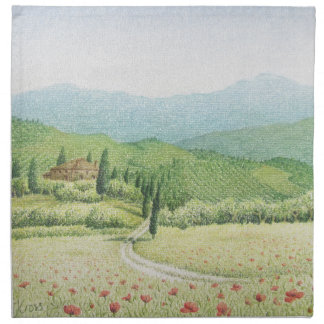 Tuscan Vineyards, Italy In Pastel Cloth Napkins