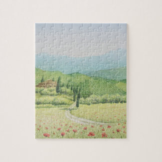 Tuscan Vineyards, Italy in Pastel Jigsaw Puzzle