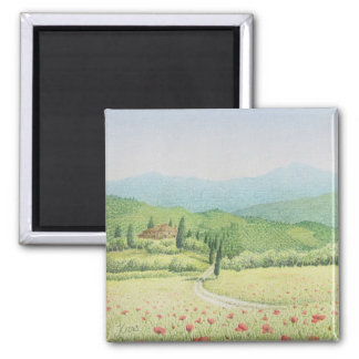 Tuscan Vineyards, Italy in Pastel Magnet