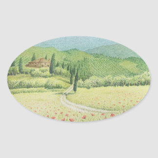 Tuscan Vineyards, Italy in Pastel Oval Stickers