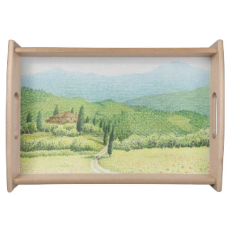 Tuscan Vineyards, Italy in Pastel Serving Tray