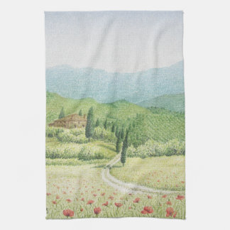 Tuscan Vineyards, Italy in Pastel Tea Towel