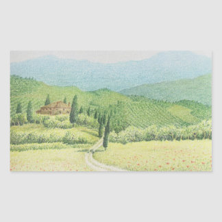 Tuscan Vineyards, Italy Pastel Rectangle Stickers