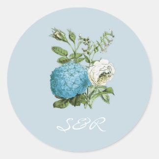 Tuscany Blue Floral Wedding Invitation Stickers