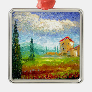Tuscany HIlside with Poppies Christmas Ornament