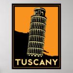 tuscany italy art deco retro poster