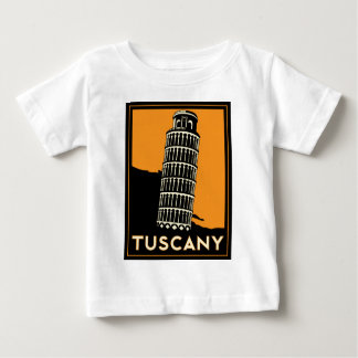 Tuscany Italy retro art deco travel poster Baby T-Shirt