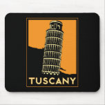 Tuscany Italy retro art deco travel poster Mouse Pads