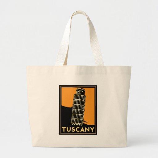 Tuscany Italy retro art deco travel poster Jumbo Tote Bag