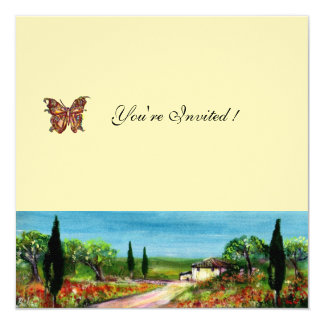 TUSCANY LANDSCAPE 4,yellow green felt cream 13 Cm X 13 Cm Square Invitation Card