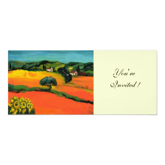TUSCANY LANDSCAPE , blue green yellow orange 10 Cm X 24 Cm Invitation Card