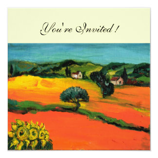 TUSCANY LANDSCAPE , blue green yellow orange 13 Cm X 13 Cm Square Invitation Card