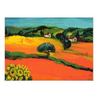 TUSCANY LANDSCAPE , blue green yellow orange 13 Cm X 18 Cm Invitation Card