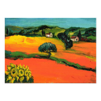 TUSCANY LANDSCAPE blue green yellow orange Personalized Announcement