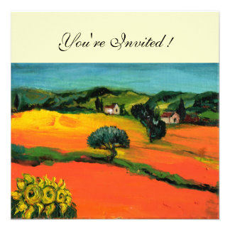 TUSCANY LANDSCAPE blue green yellow orange Custom Invite