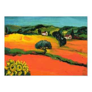 "TUSCANY LANDSCAPE , blue green yellow orange 5"" X 7"" Invitation Card"