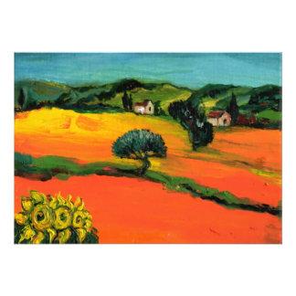 TUSCANY LANDSCAPE blue green yellow orange Personalized Invitations