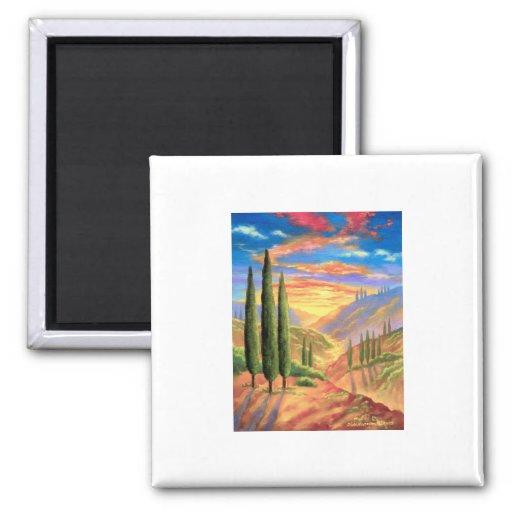 Tuscany Landscape Painting - Multi Magnets