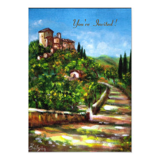 TUSCANY LANDSCAPE, red green yellow gold sparkles 13 Cm X 18 Cm Invitation Card