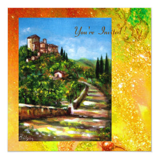 TUSCANY LANDSCAPE, red green yellow gold sparkles 13 Cm X 13 Cm Square Invitation Card