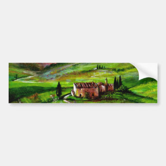 TUSCANY LANDSCAPE WITH GREEN HILLS BUMPER STICKER