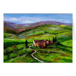 TUSCANY LANDSCAPE WITH GREEN HILLS GREETING CARD