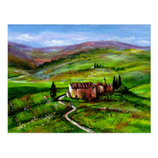 TUSCANY LANDSCAPE WITH GREEN HILLS POSTCARD