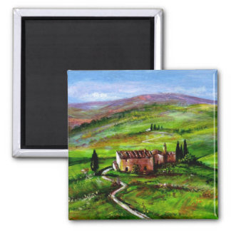 TUSCANY LANDSCAPE WITH GREEN HILLS SQUARE MAGNET