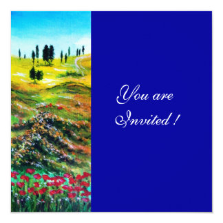 TUSCANY LANDSCAPE WITH POPPIES ,blue Card