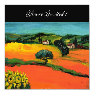 TUSCANY LANDSCAPE WITH SUNFLOWERS orange  black 13 Cm X 13 Cm Square Invitation Card