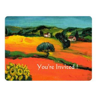 """TUSCANY LANDSCAPE WITH SUNFLOWERS orange  black 6.5"""" X 8.75"""" Invitation Card"""