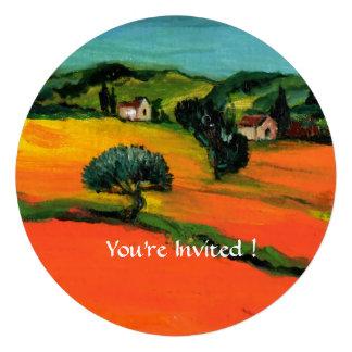 TUSCANY LANDSCAPE WITH SUNFLOWERS orange black Personalized Invites