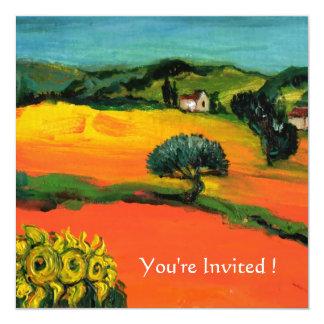 "TUSCANY LANDSCAPE WITH SUNFLOWERS orange  black 5.25"" Square Invitation Card"