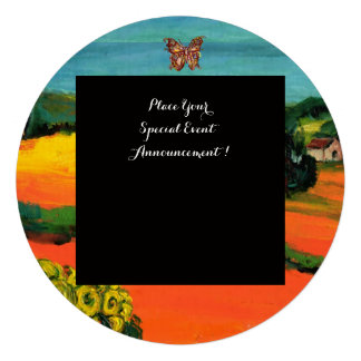 TUSCANY LANDSCAPE WITH SUNFLOWERS orange black Personalized Announcement