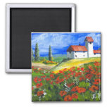 Tuscany Red Poppies Square Magnet
