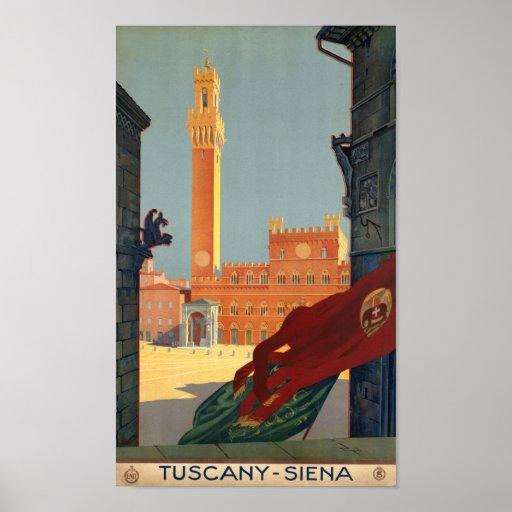 Tuscany Siena Italy Vintage Italian Travel Poster