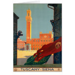 Tuscany Siena Italy Vintage Italian Travel Poster Greeting Card