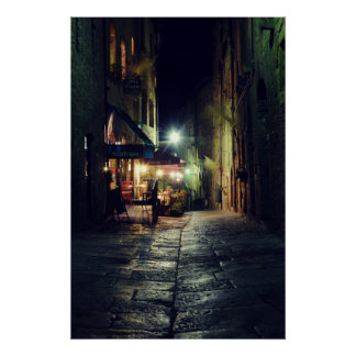 Tuscany town of Volterra at night trattoria Poster